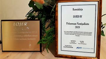 Tampere Region Export Award 2019 to Lojer